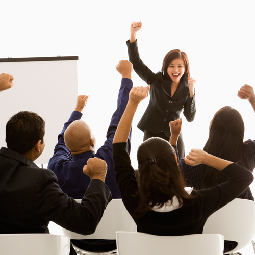Woman motivating group